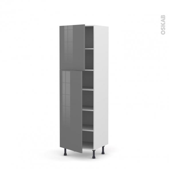 STECIA Gris - Armoire étagère N°2721  - 2 portes - L60xH195xP58