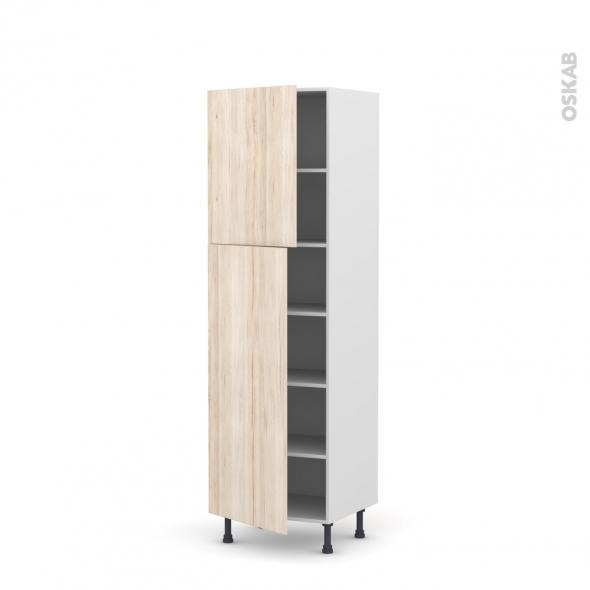 IKORO Chêne clair - Armoire étagère N°2721  - 2 portes - L60xH195xP58