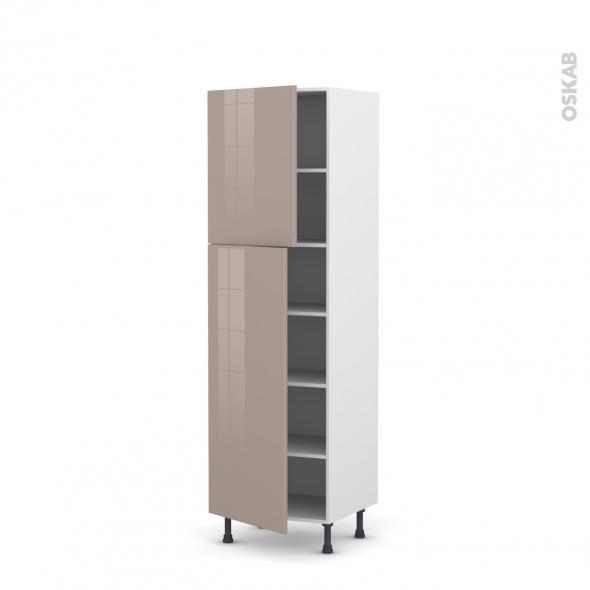 Colonne de cuisine N°2721 - Armoire étagère - KERIA Moka - 2 portes - L60 x H195 x P58 cm