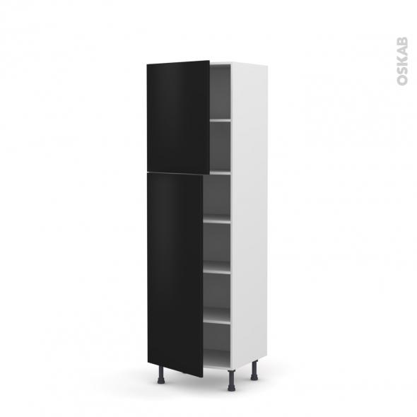 Colonne de cuisine N°2721 - Armoire étagère - GINKO Noir - 2 portes - L60 x H195 x P58 cm