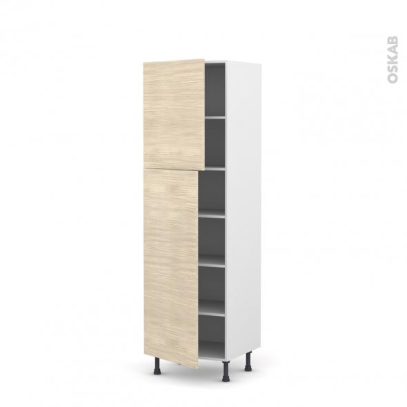 STILO Noyer Blanchi - Armoire étagère N°2721  - 2 portes - L60xH195xP58