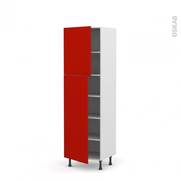 GINKO Rouge - Armoire étagère N°2721  - 2 portes - L60xH195xP58