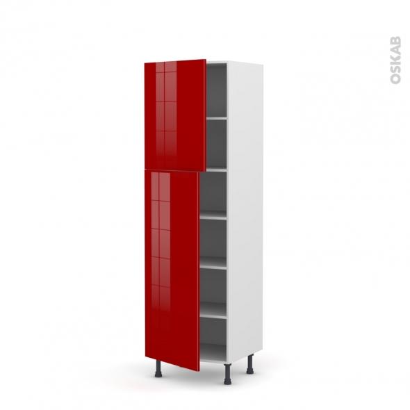 Colonne de cuisine N°2721 - Armoire étagère - STECIA Rouge - 2 portes - L60 x H195 x P58 cm