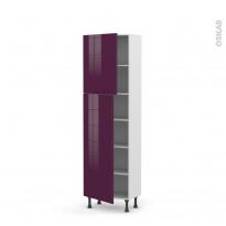 Colonne de cuisine N°2127 - Armoire étagère - KERIA Aubergine - 2 portes - L60 x H195 x P37 cm