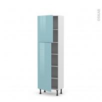 Colonne de cuisine N°2127 - Armoire étagère - KERIA Bleu - 2 portes - L60 x H195 x P37 cm
