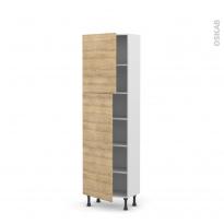 Colonne de cuisine N°2127 - Armoire étagère - HOSTA Chêne naturel - 2 portes - L60 x H195 x P37 cm