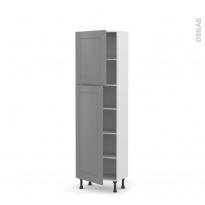 Colonne de cuisine N°2127 - Armoire étagère - FILIPEN Gris - 2 portes - L60 x H195 x P37 cm