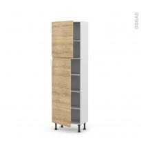 Colonne de cuisine N°2127 - Armoire étagère - IPOMA Chêne naturel - 2 portes - L60 x H195 x P37 cm
