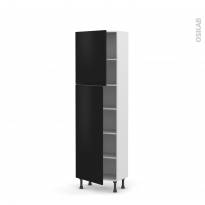 Colonne de cuisine N°2127 - Armoire étagère - GINKO Noir - 2 portes - L60 x H195 x P37 cm
