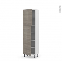 Colonne de cuisine N°2127 - Armoire étagère - STILO Noyer Naturel - 2 portes - L60 x H195 x P37 cm