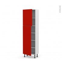 GINKO Rouge - Armoire étagère N°2127   - Prof.37  2 portes - L60xH195xP37