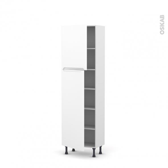 Colonne de cuisine N°2127 - Armoire étagère - PIMA Blanc - 2 portes - L60 x H195 x P37 cm