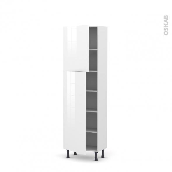 Colonne de cuisine N°2127 - Armoire étagère - STECIA Blanc - 2 portes - L60 x H195 x P37 cm