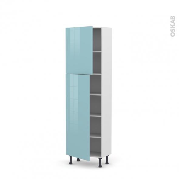 KERIA Bleu - Armoire étagère N°2127   - Prof.37  2 portes - L60xH195xP37