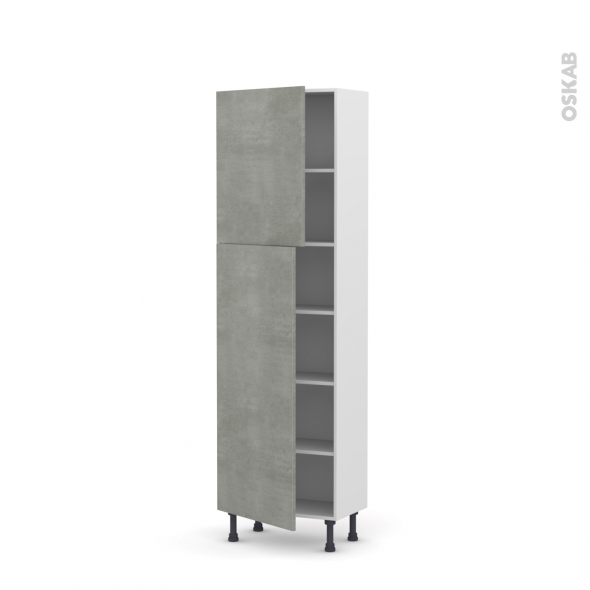 Colonne de cuisine N°2127 - Armoire étagère - FAKTO Béton - 2 portes - L60 x H195 x P37 cm