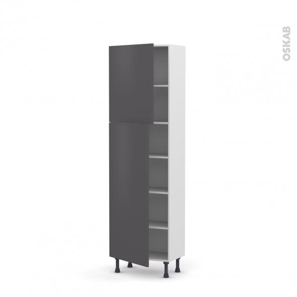 Colonne de cuisine N°2127 - Armoire étagère - GINKO Gris - 2 portes - L60 x H195 x P37 cm