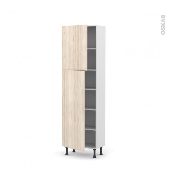 Colonne de cuisine N°2127 - Armoire étagère - IKORO Chêne clair - 2 portes - L60 x H195 x P37 cm