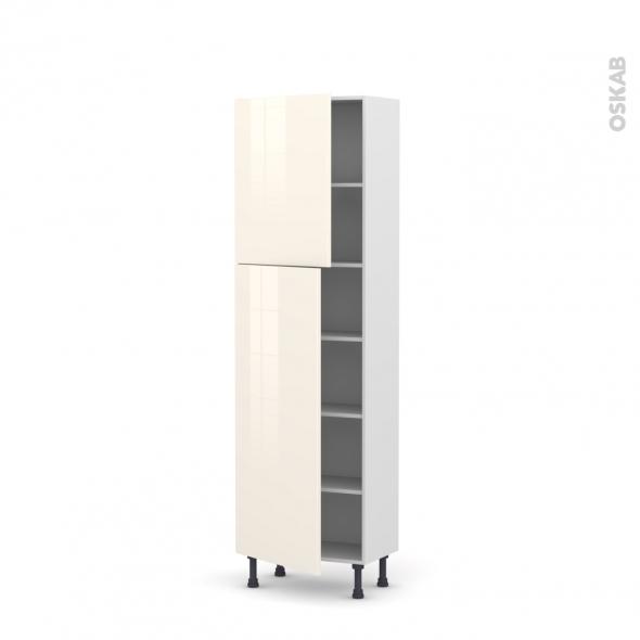 Colonne de cuisine N°2127 - Armoire étagère - KERIA Ivoire - 2 portes - L60 x H195 x P37 cm