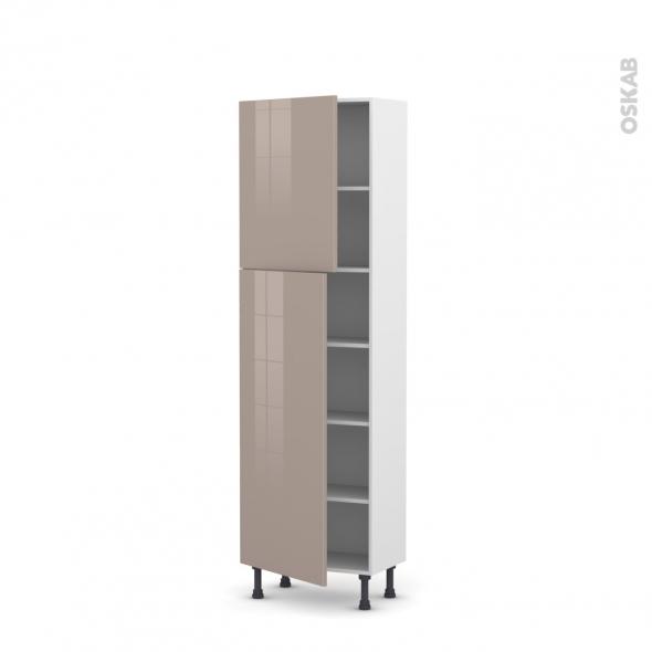 Colonne de cuisine N°2127 - Armoire étagère - KERIA Moka - 2 portes - L60 x H195 x P37 cm