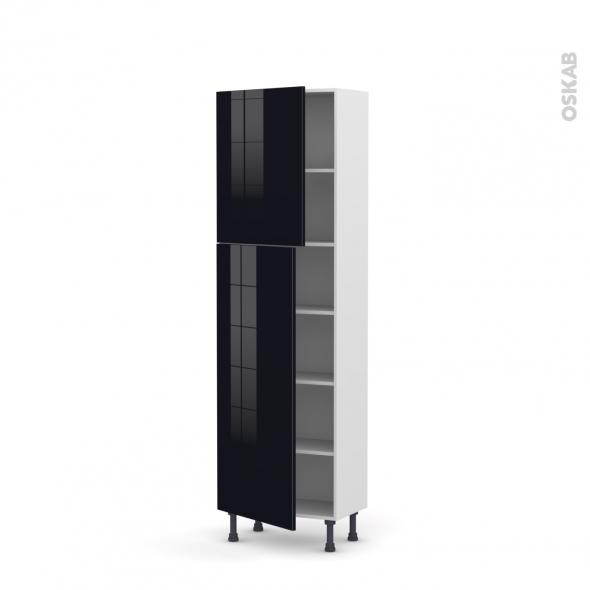 Colonne de cuisine N°2127 - Armoire étagère - KERIA Noir - 2 portes - L60 x H195 x P37 cm