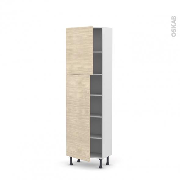 Colonne de cuisine N°2127 - Armoire étagère - STILO Noyer Blanchi - 2 portes - L60 x H195 x P37 cm