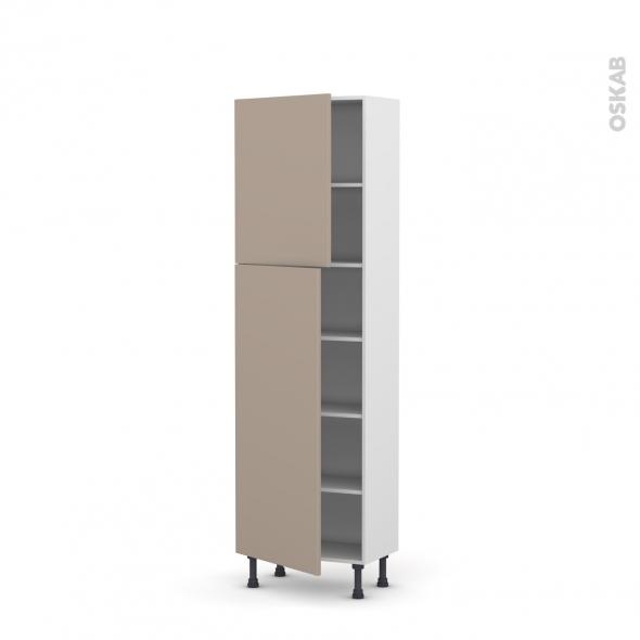 Colonne de cuisine N°2127 - Armoire étagère - GINKO Taupe - 2 portes - L60 x H195 x P37 cm