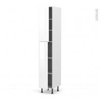 Colonne de cuisine N°2326 - Armoire étagère - IRIS Blanc - 2 portes - L40 x H217 x P58 cm