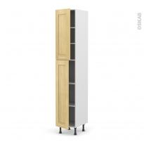 BASILIT Bois Brut - Armoire étagère N°2326  - 2 portes - L40xH217xP58