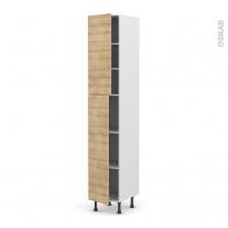 Colonne de cuisine N°2326 - Armoire étagère - HOSTA Chêne naturel - 2 portes - L40 x H217 x P58 cm