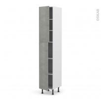 Colonne de cuisine N°2326 - Armoire étagère - FAKTO Béton - 2 portes - L40 x H217 x P58 cm