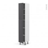 Colonne de cuisine N°2326 - Armoire étagère - GINKO Gris - 2 portes - L40 x H217 x P58 cm