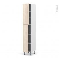 Colonne de cuisine N°2326 - Armoire étagère - IKORO Chêne clair - 2 portes - L40 x H217 x P58 cm