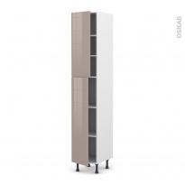 Colonne de cuisine N°2326 - Armoire étagère - KERIA Moka - 2 portes - L40 x H217 x P58 cm