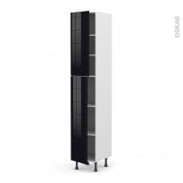 Colonne de cuisine N°2326 - Armoire étagère - KERIA Noir - 2 portes - L40 x H217 x P58 cm