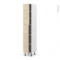 Colonne de cuisine N°2326 - Armoire étagère - STILO Noyer Blanchi - 2 portes - L40 x H217 x P58 cm