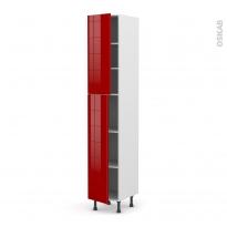 Colonne de cuisine N°2326 - Armoire étagère - STECIA Rouge - 2 portes - L40 x H217 x P58 cm