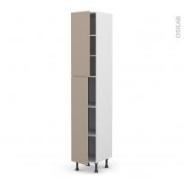 Colonne de cuisine N°2326 - Armoire étagère - GINKO Taupe - 2 portes - L40 x H217 x P58 cm