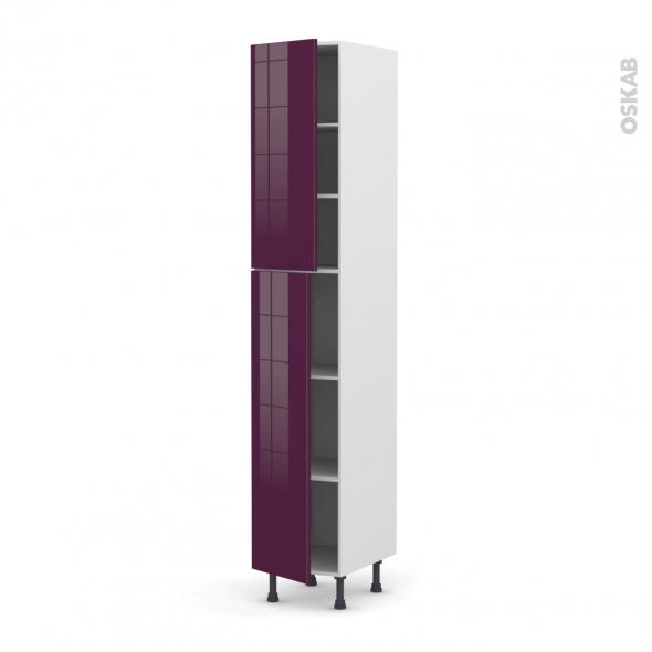 Colonne de cuisine N°2326 - Armoire étagère - KERIA Aubergine - 2 portes - L40 x H217 x P58 cm