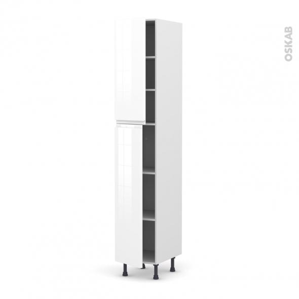 Colonne de cuisine N°2326 - Armoire étagère - IPOMA Blanc - 2 portes - L40 x H217 x P58 cm