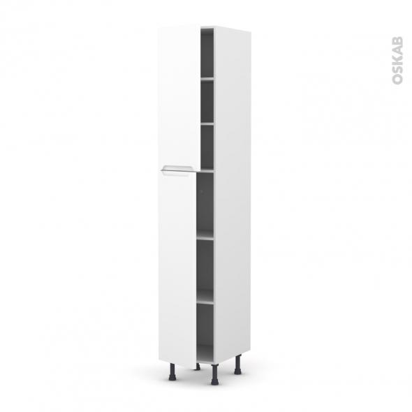 PIMA Blanc - Armoire étagère N°2326  - 2 portes - L40xH217xP58