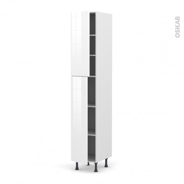 STECIA Blanc - Armoire étagère N°2326  - 2 portes - L40xH217xP58