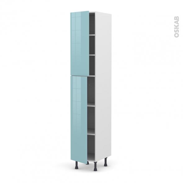 Colonne de cuisine N°2326 - Armoire étagère - KERIA Bleu - 2 portes - L40 x H217 x P58 cm