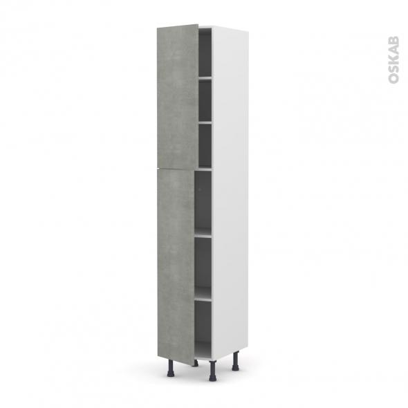 FAKTO Béton - Armoire étagère N°2326  - 2 portes - L40xH217xP58