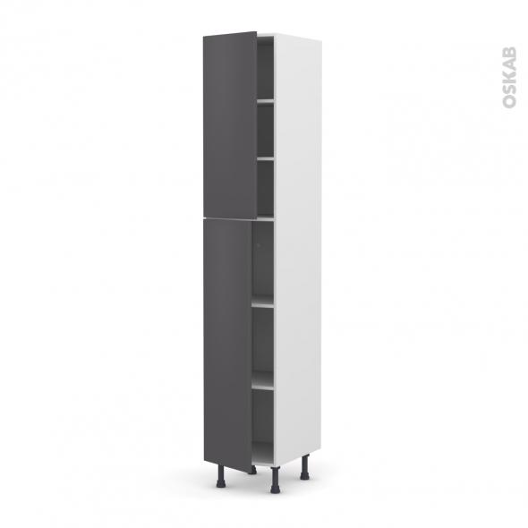 GINKO Gris - Armoire étagère N°2326  - 2 portes - L40xH217xP58