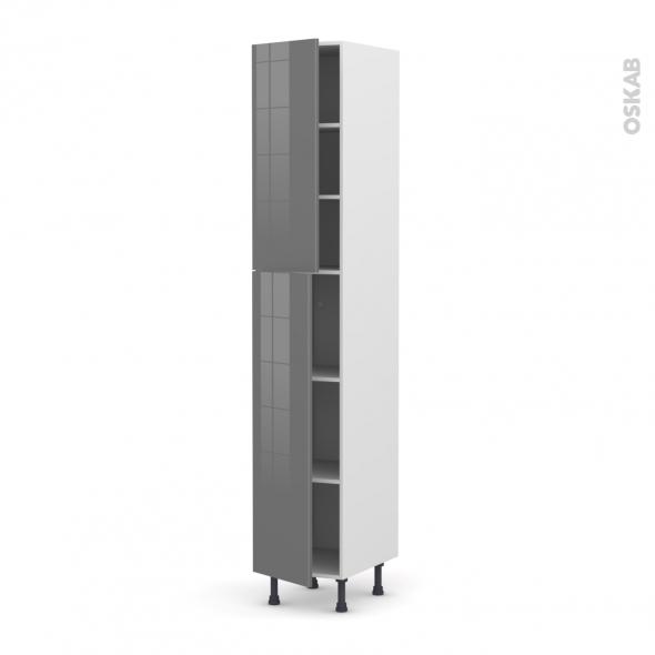Colonne de cuisine N°2326 - Armoire étagère - STECIA Gris - 2 portes - L40 x H217 x P58 cm