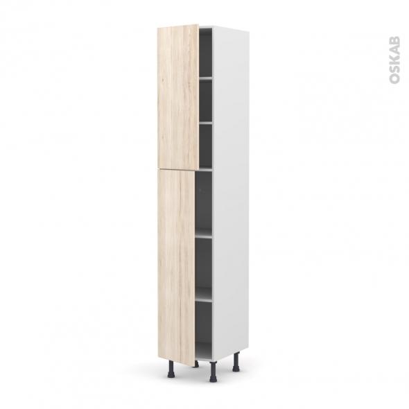 IKORO Chêne clair - Armoire étagère N°2326  - 2 portes - L40xH217xP58