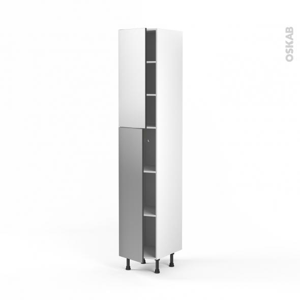 STILO Inox - Armoire étagère N°2326  - 2 portes - L40xH217xP58