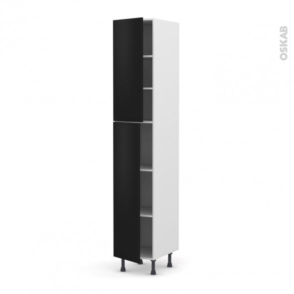GINKO Noir - Armoire étagère N°2326  - 2 portes - L40xH217xP58