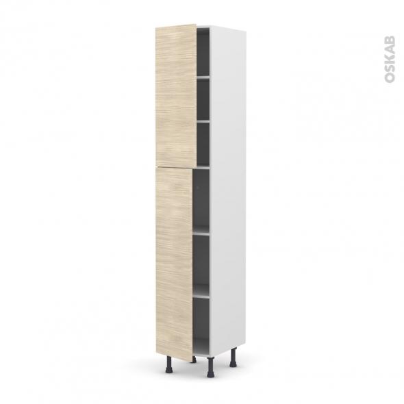 STILO Noyer Blanchi - Armoire étagère N°2326  - 2 portes - L40xH217xP58