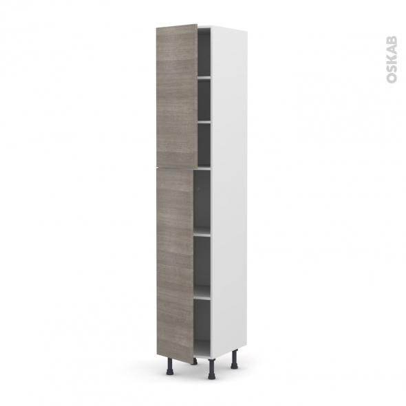 Colonne de cuisine N°2326 - Armoire étagère - STILO Noyer Naturel - 2 portes - L40 x H217 x P58 cm